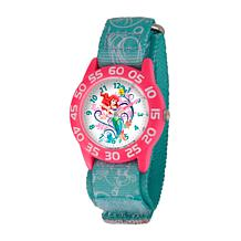 Disney Ariel Kid's Pink Bezel Time Teacher Watch with Printed Strap