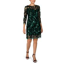 Donna Ricco Long Sleeve Velvet Sequin Mesh with Overlay Dress
