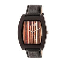 Earth Wood Cedar Dark Brown Wood Leather Strap Watch
