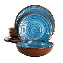 Elama Rippled Tides 12-Piece Lightweight Melamine Dinnerware Set-Blue