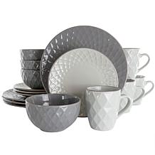 Elama Tahitian Diamond 16 Piece Stoneware Dinnerware Set in Slate a...