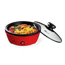 """Elite Cuisine 8.5"""" Red Round Personal Skillet with Glass Lid"""