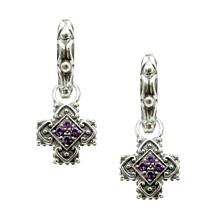 Elyse Ryan Sterling Silver Amethyst Cross Removable Drop Earrings