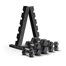Epic Fitness 150 Pound Hex Dumbbell Set with Heavy Duty A-Frame Rack