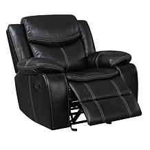 Furniture of America Arya Leatherette Glider Recliner - Black