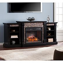 Gallatin Electric Fireplace Bookcases Black Gray