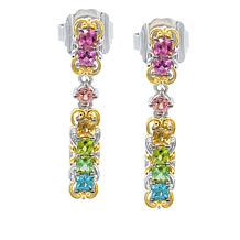 Gems by Michael 18K Goldtone Multi-Color Tourmaline Dangle Earrings