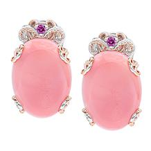 Gems by Michael Pink Conch Shell and Rhodolite Earrings