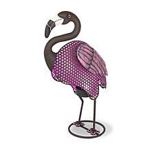 Gerson Company Rustic Solar Lighted Garden Meadow Flamingo