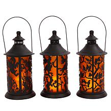 Gerson Set of 3 Battery-Powered Metal Halloween Lanterns w/LED Candles