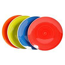 Gibson Home Crenshaw 4-Piece Fine Ceramic Dinner Plate Set