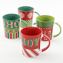 Gibson Home Festive Nights 4-piece 15 oz. Assorted Funky Mug Set
