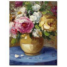 Rio 'Flowers in a Gold Vase' Canvas Art Print
