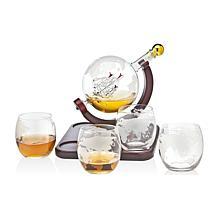 Godinger Whiskey Decanter Globe with 4 Whiskey Glasses