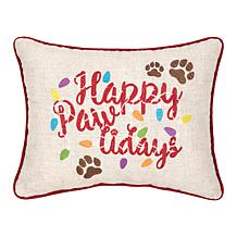 Happy Pawlidays Embroidered Pillow