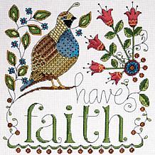 """Heartfelt Have Faith 10"""" x 10"""" Counted Cross Stitch Kit"""
