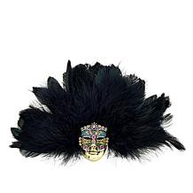 "Heidi Daus ""Captivating Carnival"" Feathered Mask Pin"