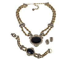 "Heidi Daus ""Chain of Events"" Necklace, Bracelet and Earrings 3pc Set"