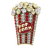 "Heidi Daus ""Pop-Ular"" Enamel and Crystal Popcorn Pin"