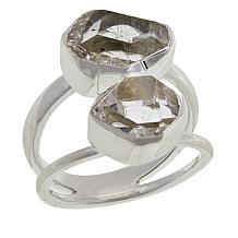 "Herkimer Mines ""Diamond"" Quartz ""Royalty"" 2-Stone Freeform Ring"