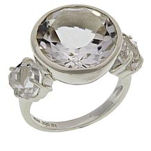 "Herkimer Mines Sterling Silver Round 3-Stone ""Diamond"" Quartz Ring"