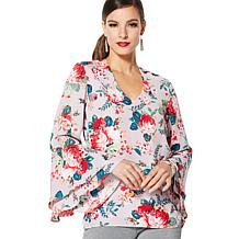 IMAN Global Chic Dressed & Ready Draped-Sleeve Top