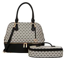 IMAN Global Chic Logo Print Dome Satchel with Cosmetic Case