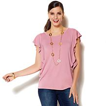 IMAN Global Chic Luxury Resort Cascading Ruffle Tee