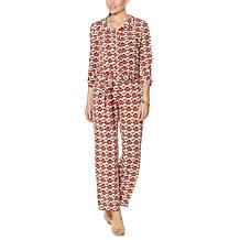 IMAN Global Chic Printed Wide-Leg Belted Jumpsuit