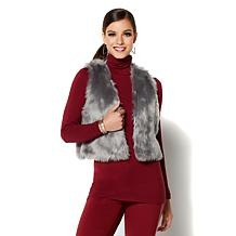 IMAN Platinum Touch of Cash Cardigan and Faux Fur Vest Combo