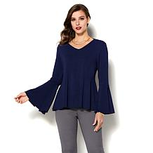 e71a326122841 IMAN Runway Chic Luxurious Bell-Sleeve Top - Basic