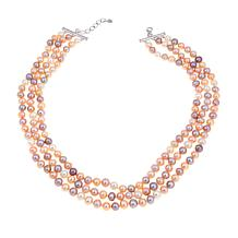 Imperial Pearls 7x8mm Multicolor Cultured Pearl 3-Row Necklace
