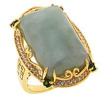 Jade of Yesteryear Emerald-Cut Jade and Multi-Gemstone Ring