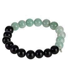 Jade of Yesteryear Green Jade and Black Onyx Beaded Stretch Bracelet