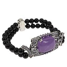 Jade of Yesteryear Sterling Silver Jade and Gemstone Beaded Bracelet