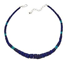 "Jay King Lapis and Turquoise Disc Bead 18"" Sterling Silver Necklace"