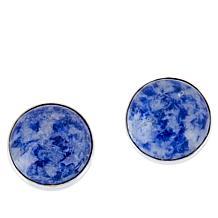 Jay King Sterling Silver Blue Carnival Stone Stud Earrings