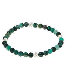Jay King Sterling Silver Emerald Bead Stretch Bracelet