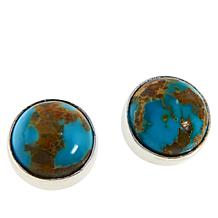 Jay King Sterling Silver Gold-Color Matrix Turquoise Stud Earrings