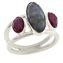Jay King Sterling Silver Labradorite and Pink Sapphire Ring
