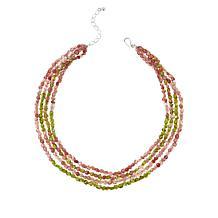 Jay King Sterling Silver Strawberry Quartz & Peridot 4-Strand Necklace