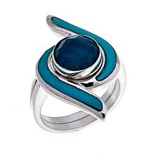 Jay King Turquoise and Apatite 2-piece Ring Set