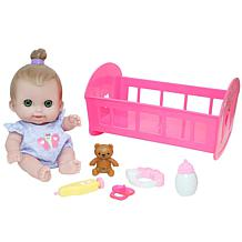 """JC Toys Lil Cutesies 9"""" Baby Doll and Crib Bed Time Gift Set"""