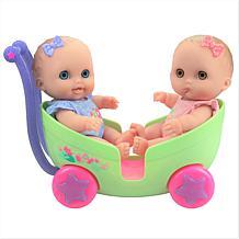 "JC Toys Lil' Cutesies Twins 8.5"" All Vinyl Dolls Stroller Set"