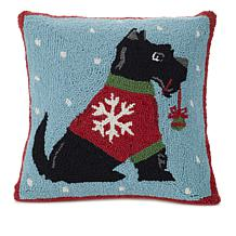 Jeffrey Banks Scottie Decorative Hand-Hooked Wool Pillow
