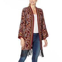 Jessica Simpson Twain Kimono with Fringe Hem