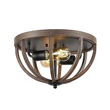 "Jonathan Y Brown Darlene 13"" 2-Light Iron Rustic LED Flush Mount"