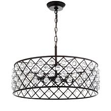 """JONATHAN Y Oil-Rubbed Bronze Gabrielle 23"""" Crystal Metal LED Pendant"""