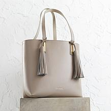JOY & IMAN Tassel Chic Leather Handbag with Popout Insert
