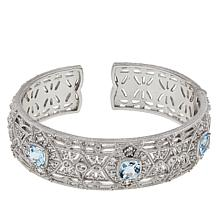 Judith Ripka Sterling Silver Blue Topaz and Diamonique® Cuff Bracelet